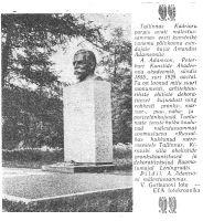 """Tallinnas Kadrioru pargis avati mälestussammas skulptor Amandus Adamsonile, """"Punane Täht"""", 3.07.1962."""