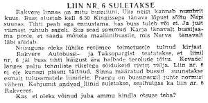 Buss nr 6, Punane Täht, 1.06.1972.