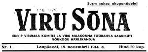 Viru Sõna nr 1, 18.11.1944.