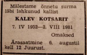 Ühistöö, 4.08.1981