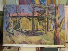 Põlula kooli muuseumis on kunstnik Jüri Jürna maal kunagisest koolimajast.