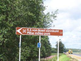 Teeviit Piibe maanteel Baeri sünnikohta. Foto: Heiki Koov, august 2010.