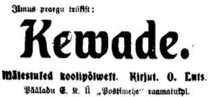 """""""Kevade"""" reklaam ajalehes Postimees 22.10.1912."""