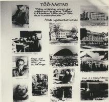 """Stend näituselt """"Alar Kotli 70"""" Rakvere 1. Keskkoolis, koostatud Odette Kirsi. Foto: Pear Rootalu, 1974. RM F 838:1, Virumaa Muuseumid SA, http://www.muis.ee/museaalview/1664270."""