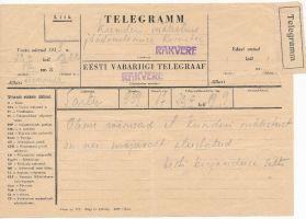 Telegramm Kunderi mälestuse jäädvustamise komiteele, RM _ 4884 Ar1 1343:3, Virumaa Muuseumid SA, http://muis.ee/museaalview/2997016.
