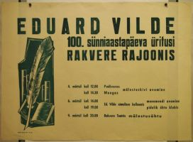 """Reklaamplakat, Eduard Vilde 100. sünniaastapäeva üritusi Rakvere rajoonis, trükikoda """"Ühistöö"""", RM _ 2042 Ar1 82, Virumaa Muuseumid SA, http://www.muis.ee/museaalview/1935313."""