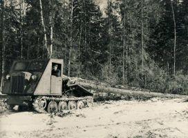 Tudu metsapunkt, Tüvede kokkuvedu traktoriga DTD-40. Traktori kabiinis Olev Kübar; 1963. RM F 375:9, SA Virumaa Muuseumid, http://www.muis.ee/museaalview/1855042.
